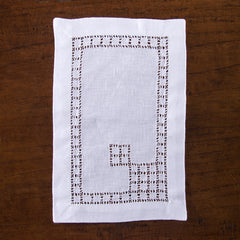 Lattice Estate<br>Cocktail Napkin - White Linen