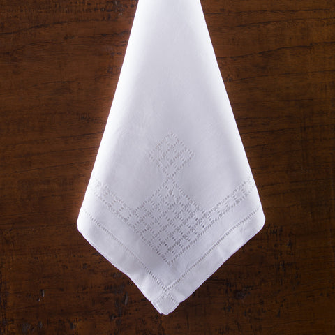 Lattice Estate<br>Napkin - White Linen