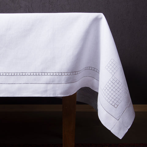 Lattice Estate<br>Tablecloth - White Linen