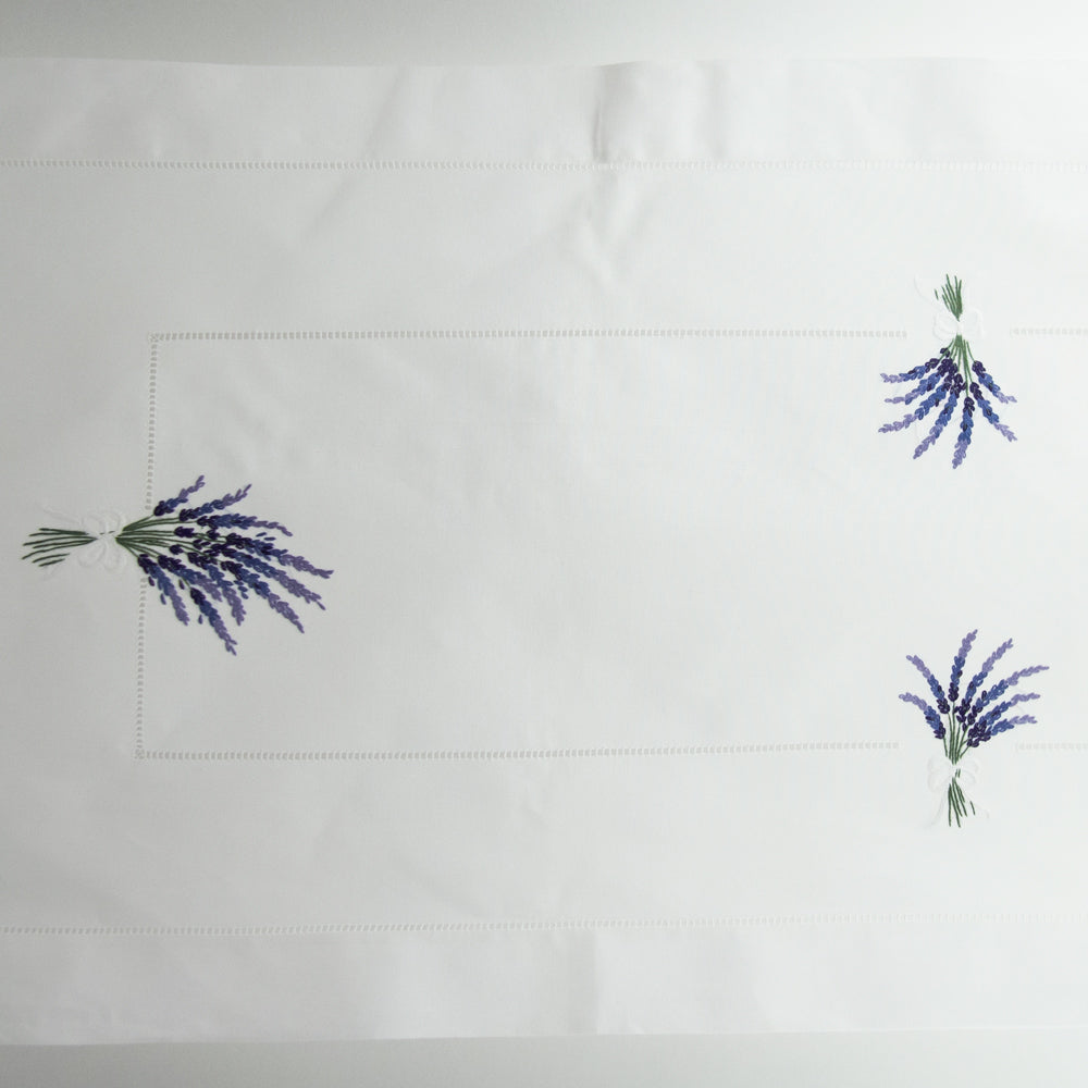 Lavender<br>Table Runner - White Cotton