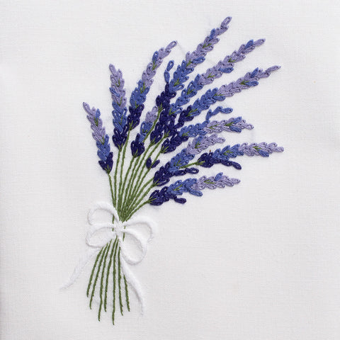 Lavender<br>Hand Towel - White Cotton