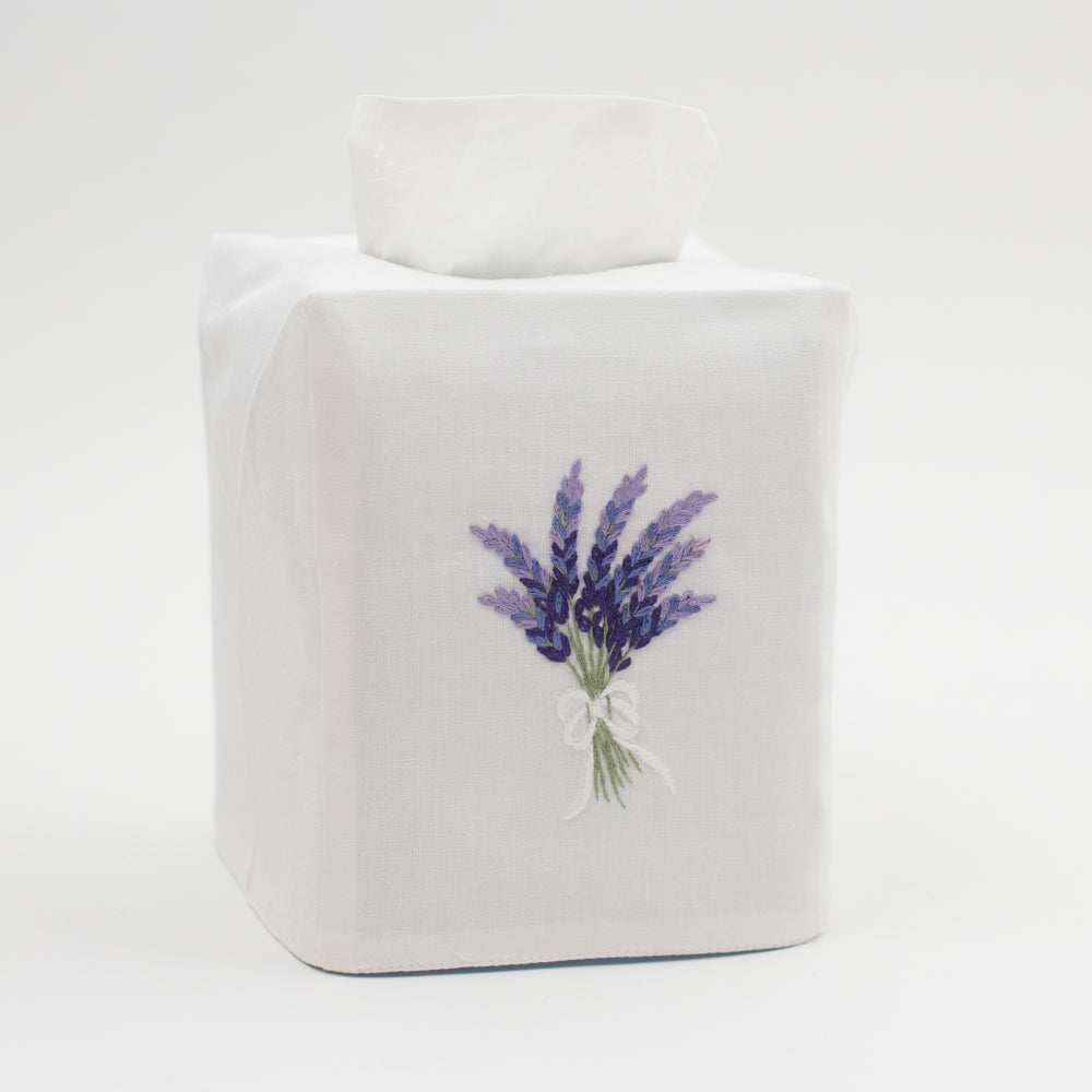 Lavender<br>Tissue Box Cover - White Cotton