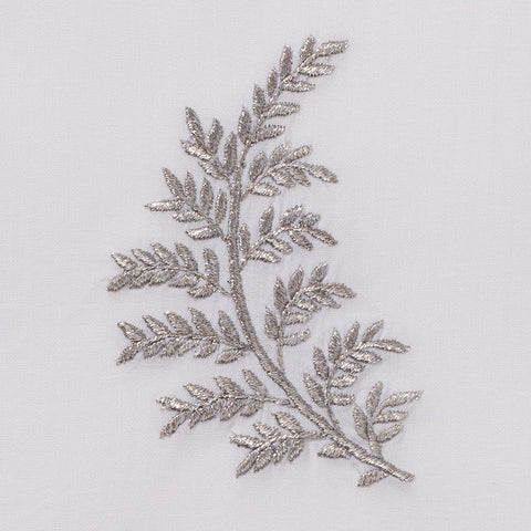 Leaves Silver<br>Hand Towel - White Cotton