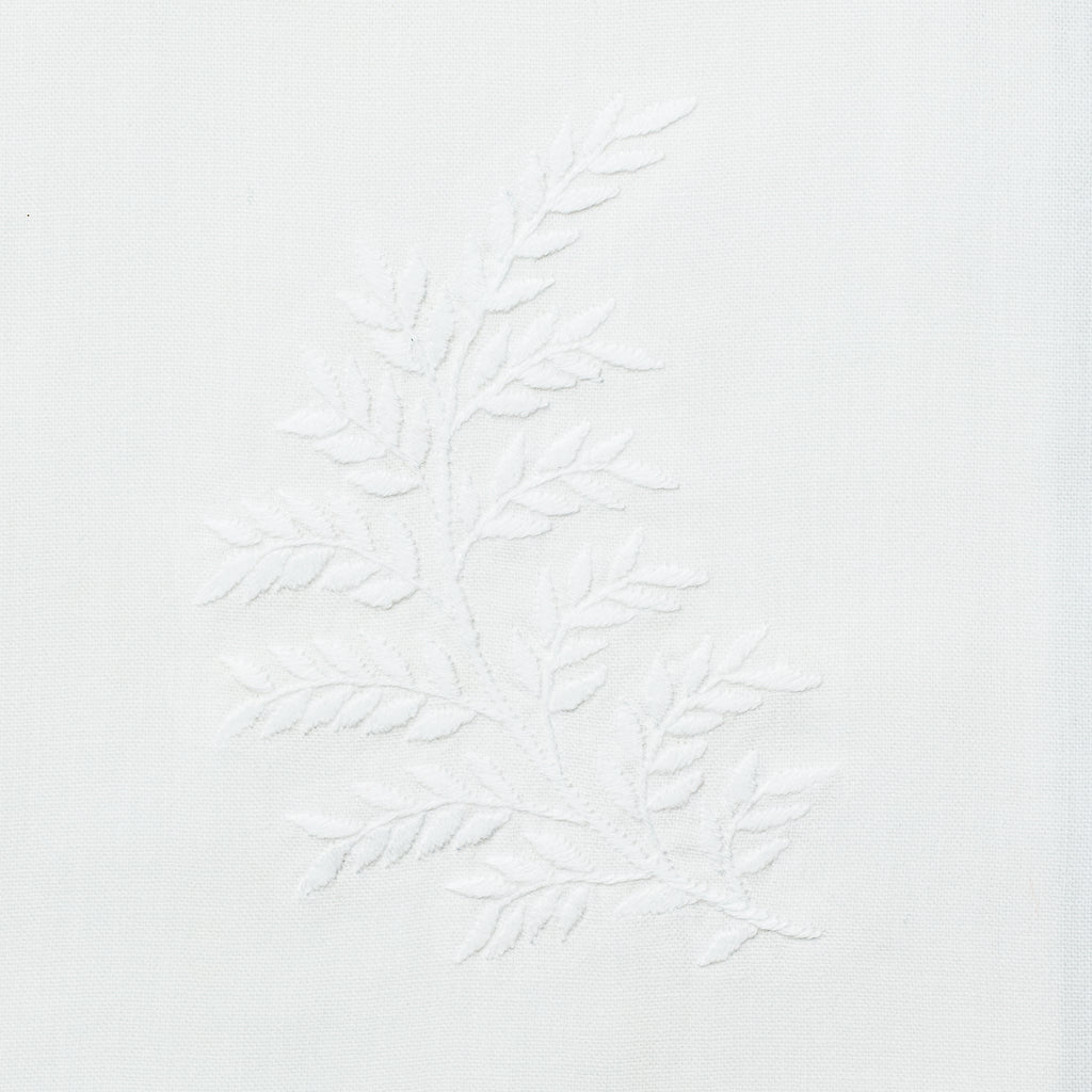 Leaves White<br>Hand Towel - White Cotton