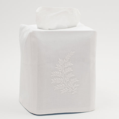 Leaves White<br>Tissue Box Cover - White Cotton
