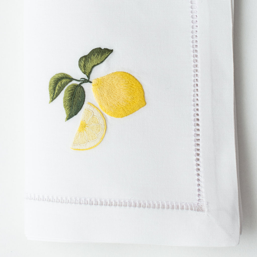 Lemons<br>Napkin - White Cotton