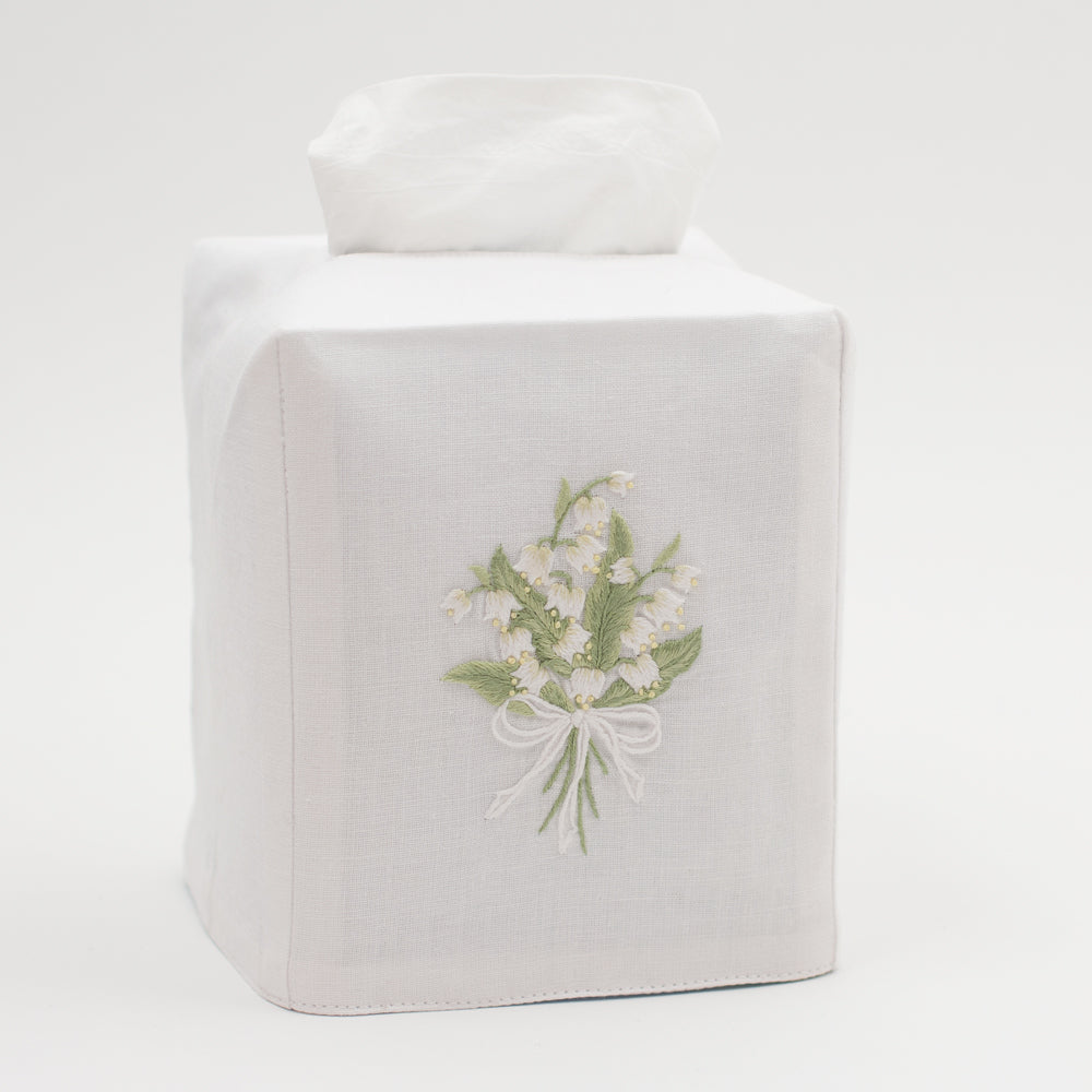 Lily of the Valley<br>Tissue Box Cover - White Cotton