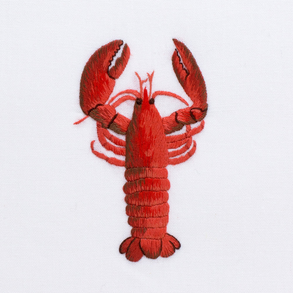 Lobster Modern<br>Hand Towel - White Cotton