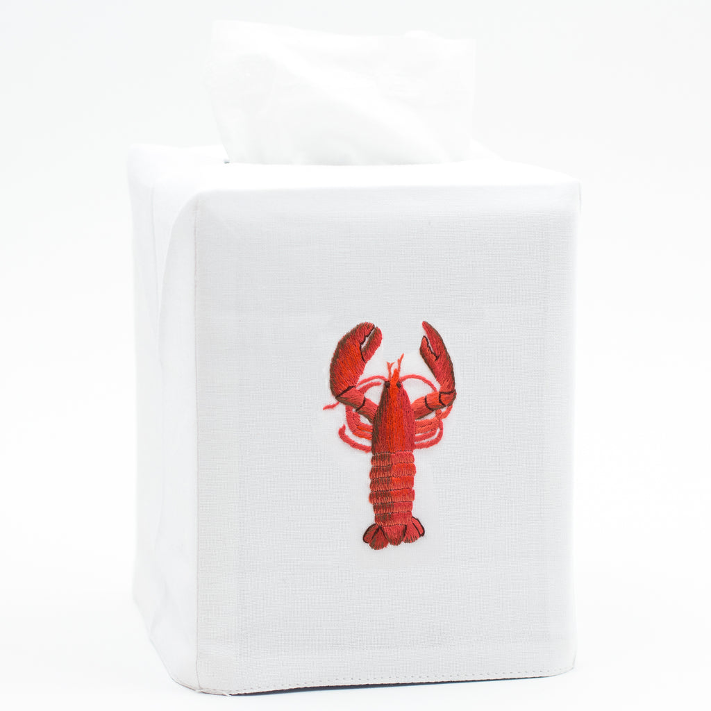 Lobster Modern<br>Tissue Box Cover - White Cotton