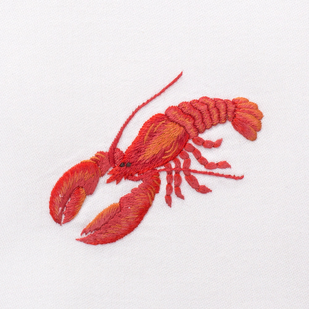 Lobster Red<br>Kitchen Towel - White Cotton