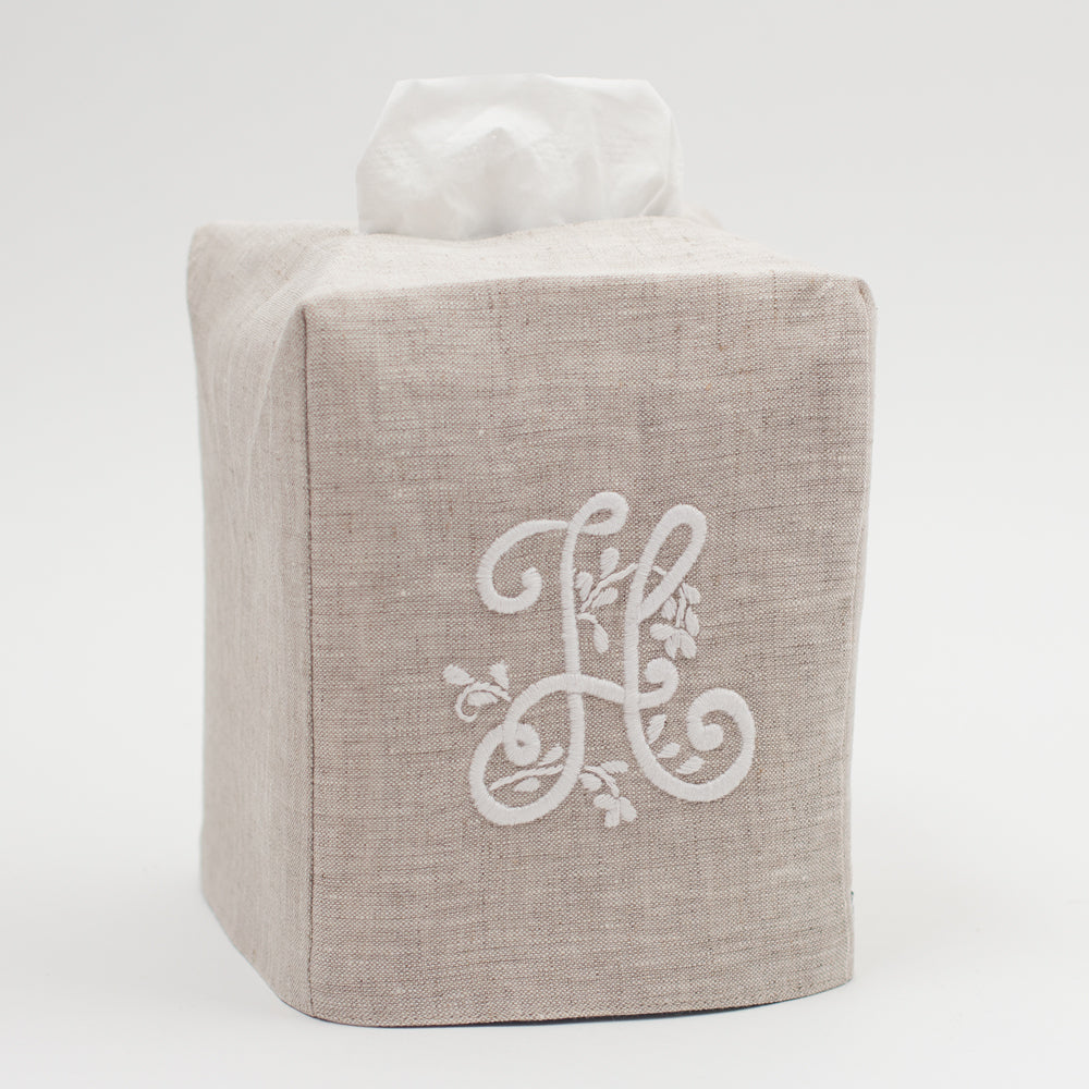 Monogram Meadow<br>Tissue Box Cover<br>Natural Linen