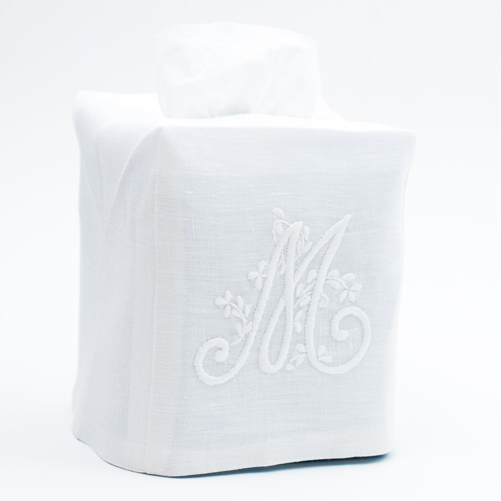Monogram Meadow<br>Tissue Box Cover<br>White Linen