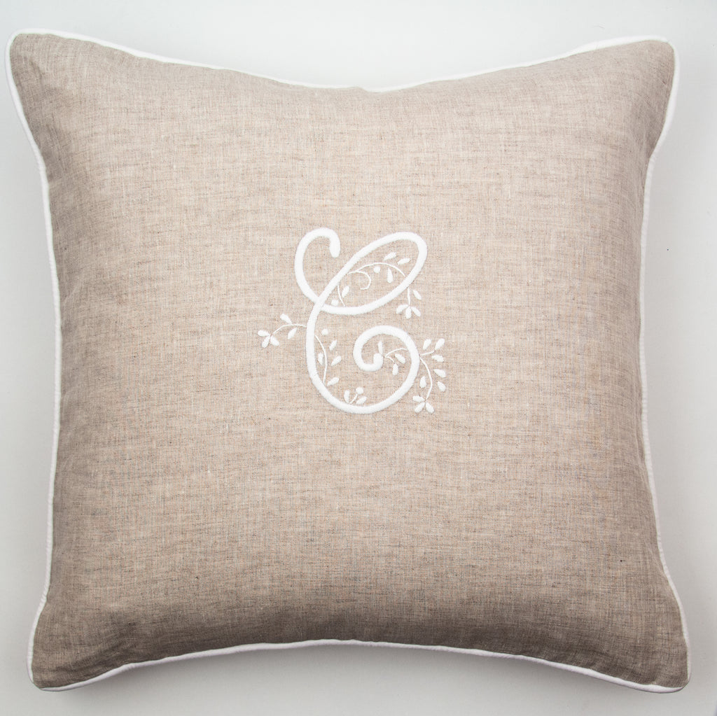 Monogram Meadow<br>Decorative Pillow - White on Natural Linen