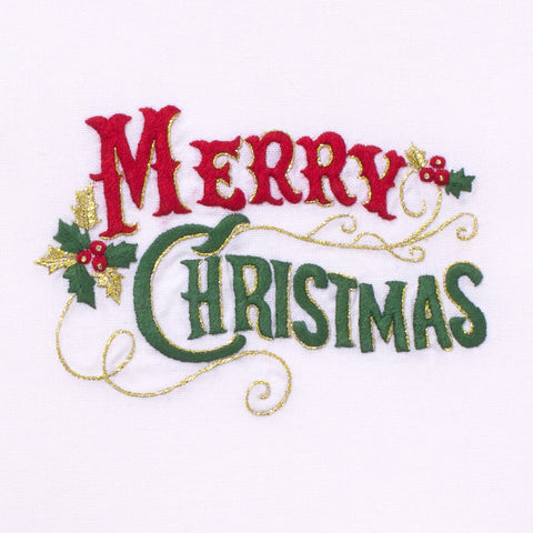 Merry Christmas Classic<br>Hand Towel - White Cotton