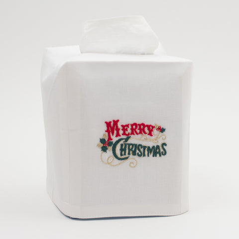 Merry Christmas Classic<br>Tissue Box Cover - White Cotton