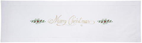 Merry Christmas<br>Table Runner - White Cotton