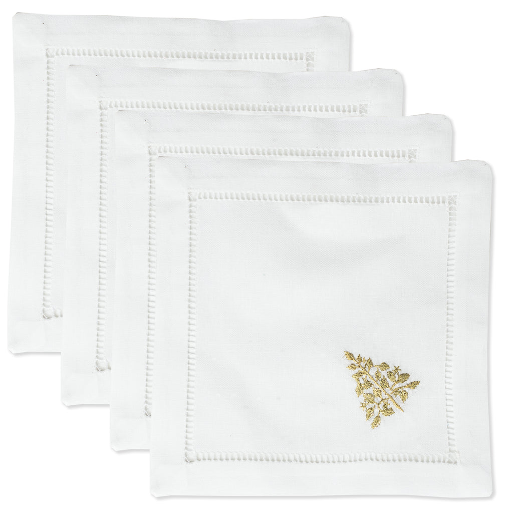 Mod Tree Gold<br>Cocktail Set - White Cotton
