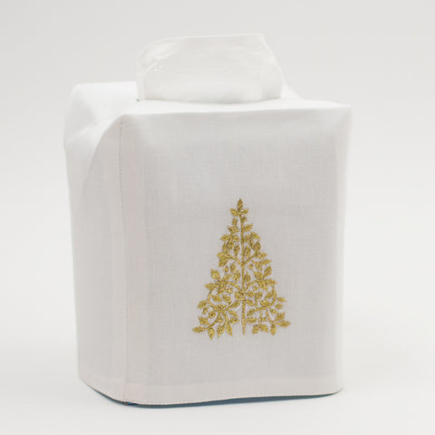 Mod Tree Gold<br>Tissue Box Cover - White Cotton