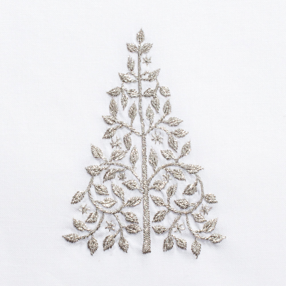 Mod Tree Silver<br>Hand Towel - White Cotton