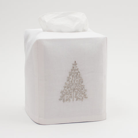 Mod Tree Silver<br>Tissue Box Cover - White Cotton