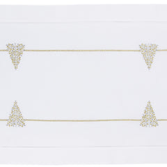 Mod Tree Glitter<br>Table Runner - White Cotton