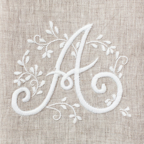 Monogram Meadow <br>Hand Towel<br>Natural Linen