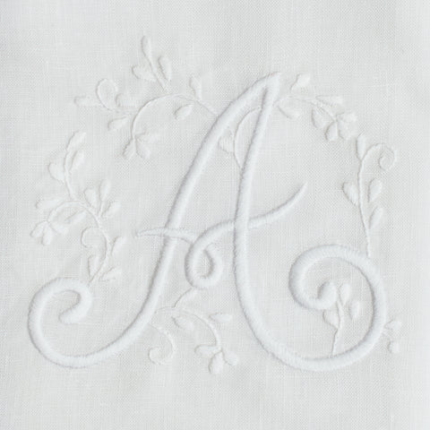 Monogram Meadow <br>Hand Towel<br>White Linen