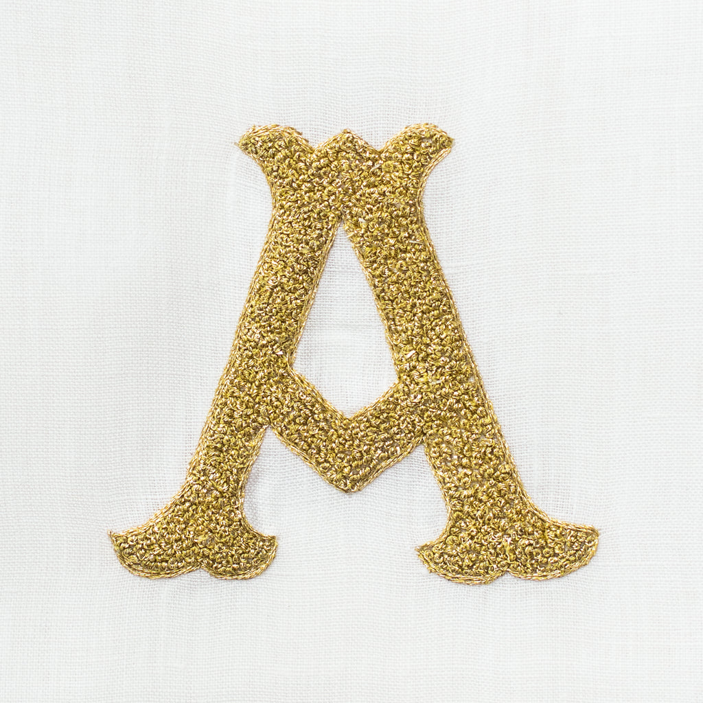 Monogram Nouveau <br>Hand Towel - Gold on White Linen