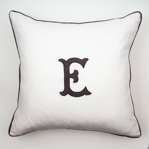 Monogram Nouveau<br>Decorative Pillow - Gray on White Linen
