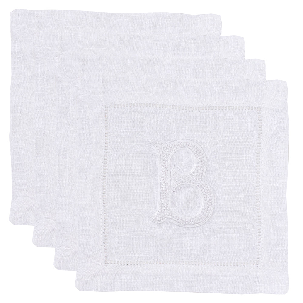 Monogram Nouveau<br>Cocktail Set - White on White Linen