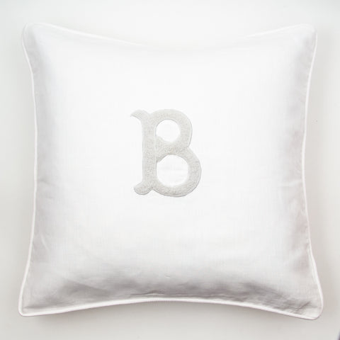 Monogram Nouveau<br>Decorative Pillow - White on White Linen