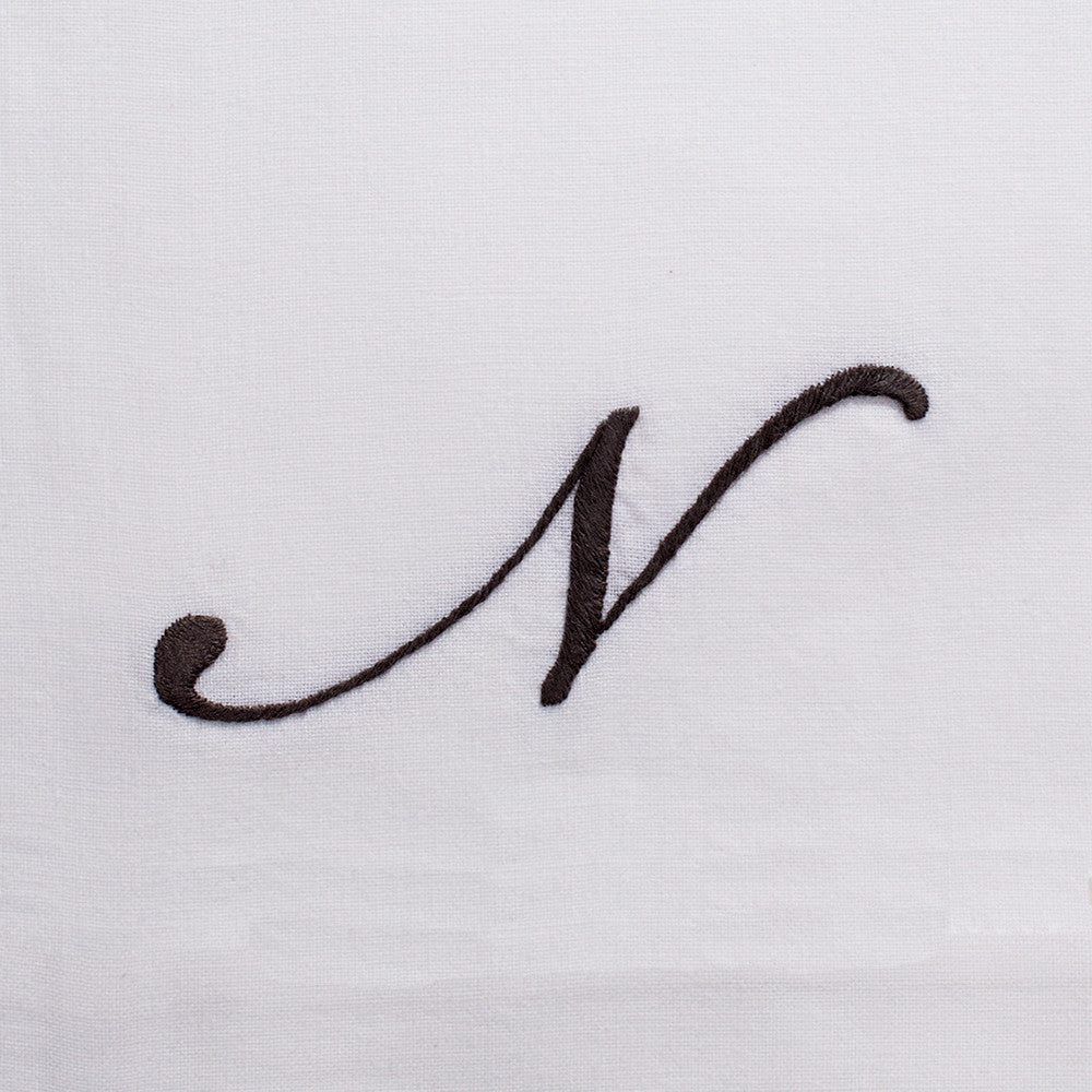 Monogram Script Gray<br>Hand Towel - White Cotton