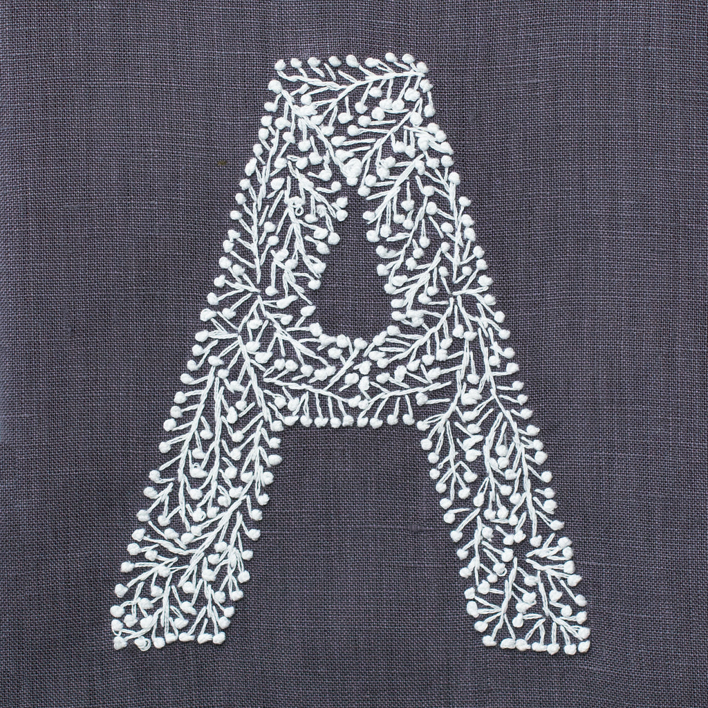 Monogram Twig<br>Hand Towel<br>Charcoal Linen