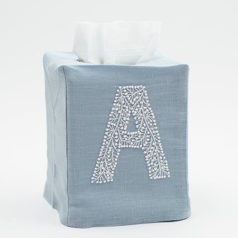 Monogram Twig<br>Tissue Box Cover<br>Sky Blue Linen
