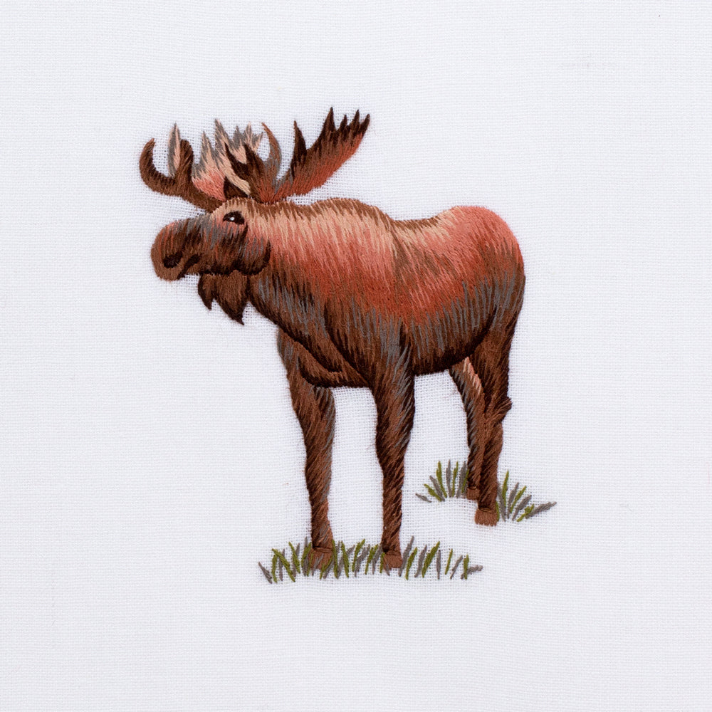 Moose<br>Hand Towel - White Cotton