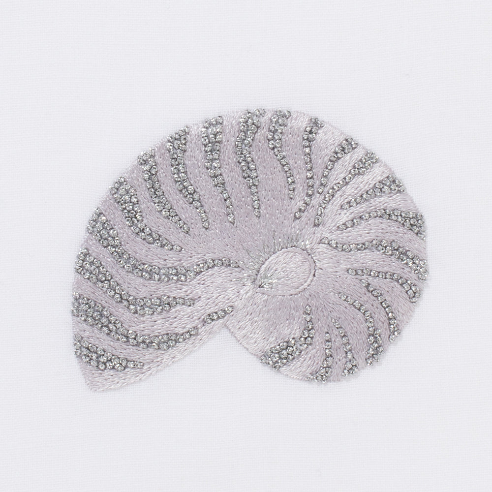 Shell Nautilus Silver<br>Hand Towel - White Cotton