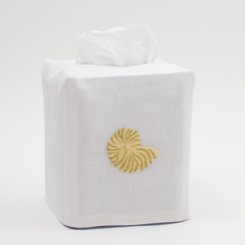 Nautilus Shimmer<br>Tissue Box Cover - White Linen<br> 34 In Stock