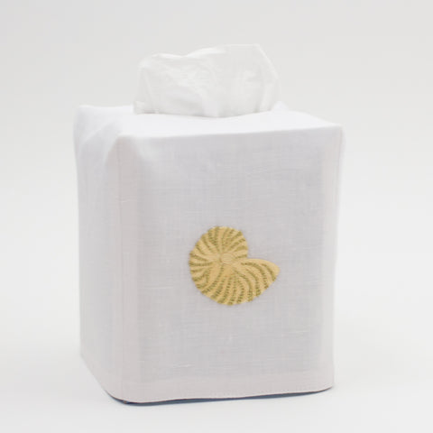 Nautilus Shimmer<br>Tissue Box Cover - White Linen