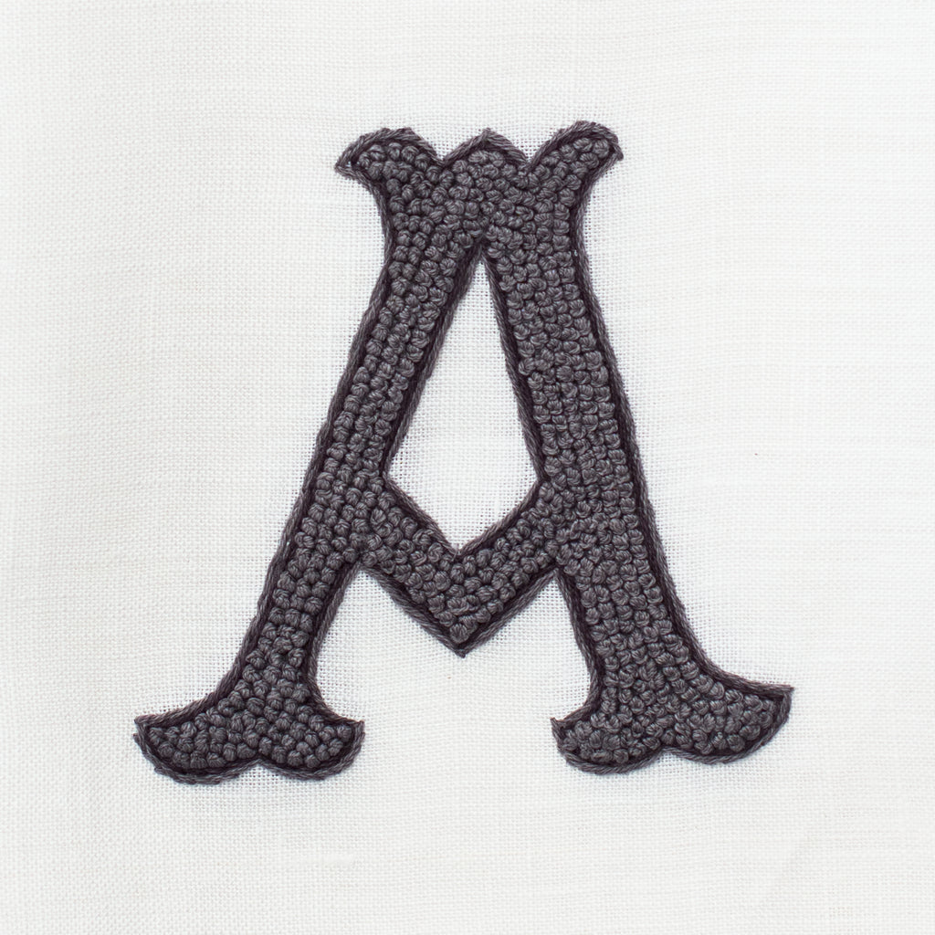 Monogram Nouveau <br>Hand Towel - Gray on White Linen