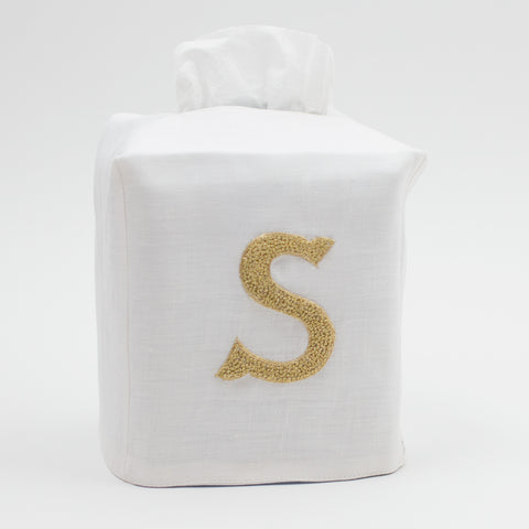 Monogram Nouveau<br>Tissue Box Cover - Gold on White Linen