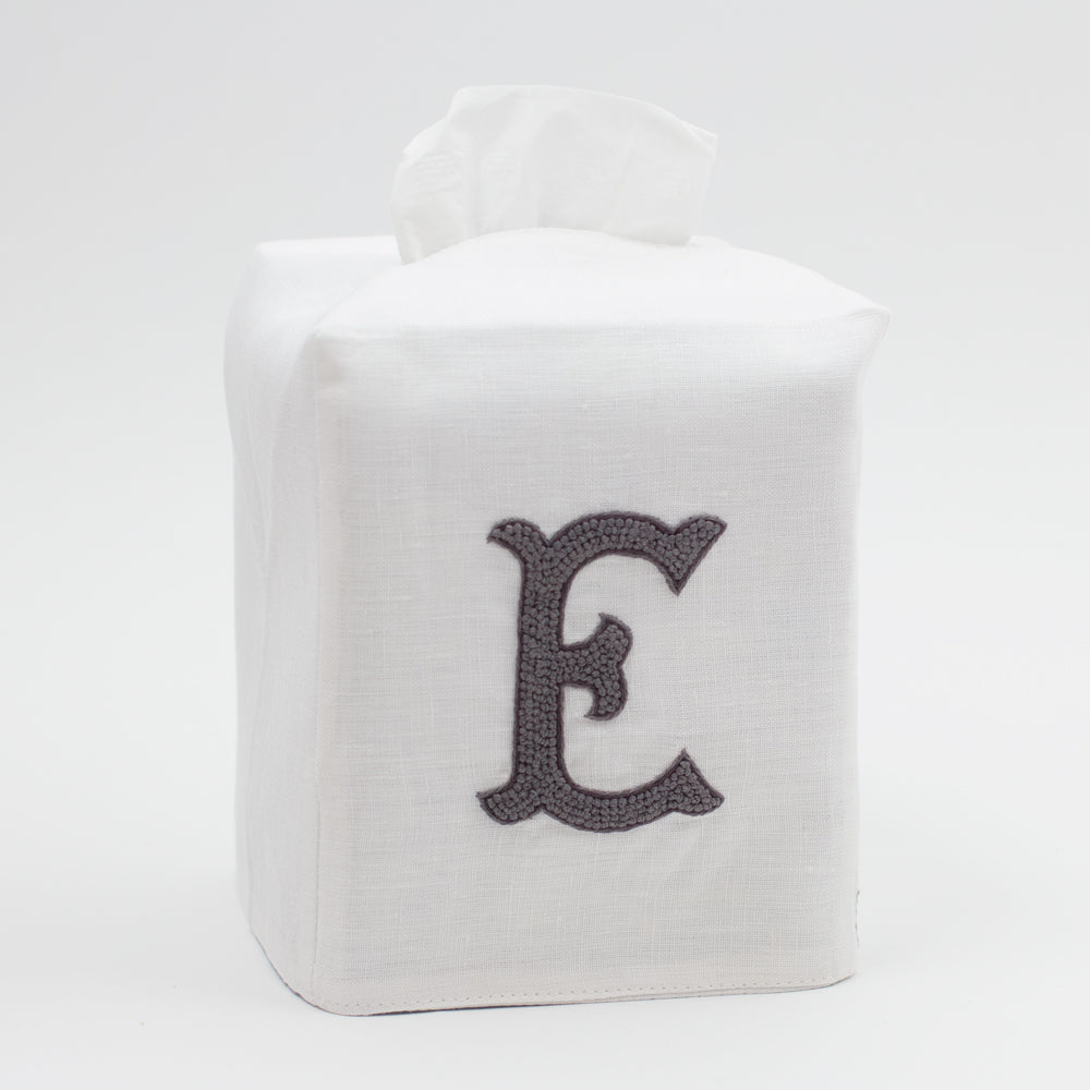 Monogram Nouveau<br>Tissue Box Cover - Gray on White Linen