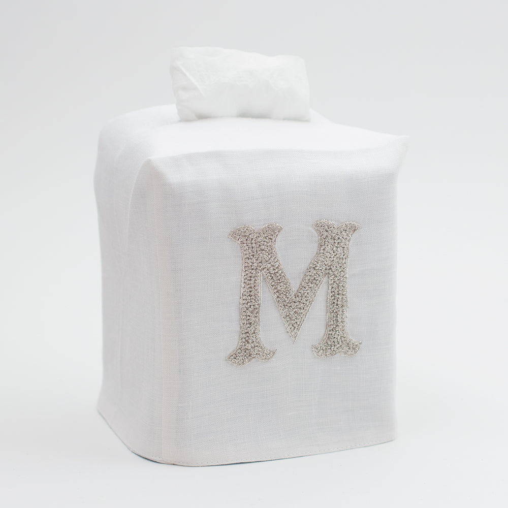 Monogram Nouveau<br>Tissue Box Cover - Silver on White Linen