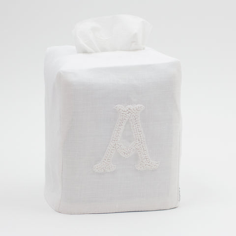 Monogram Nouveau<br>Tissue Box Cover - White on White Linen
