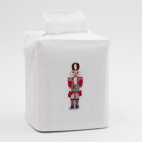 Nutcracker<br>Tissue Box Cover - White Cotton