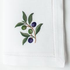 Olive Branch<br>Napkin - White Cotton