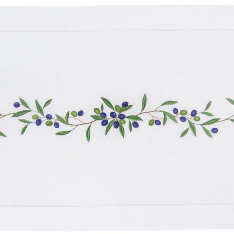 Olive Branch<br>Table Runner - White Cotton