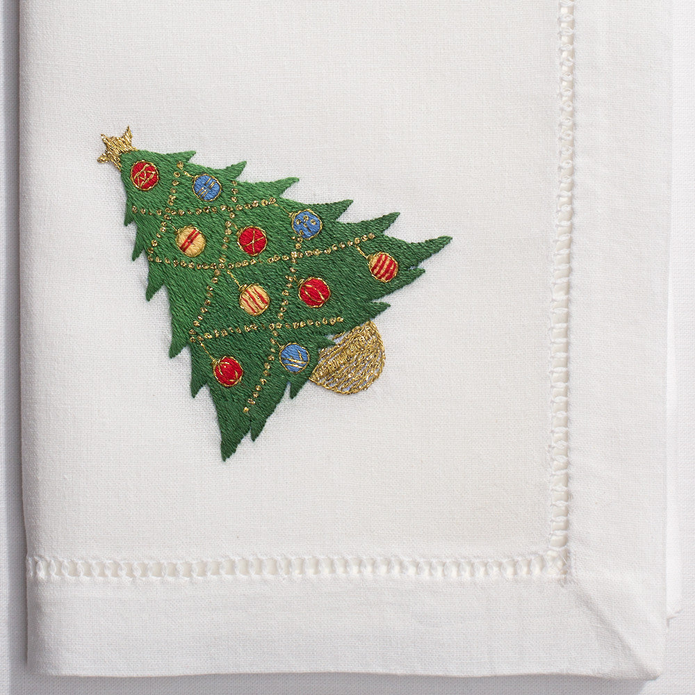 Ornament Tree<br>Napkin - White Cotton