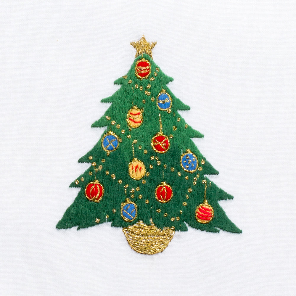 Ornament Tree<br>Hand Towel - White Cotton