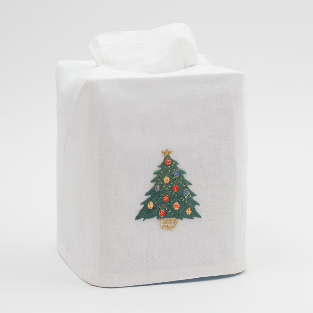 Ornament Tree<br>Tissue Box Cover - White Cotton