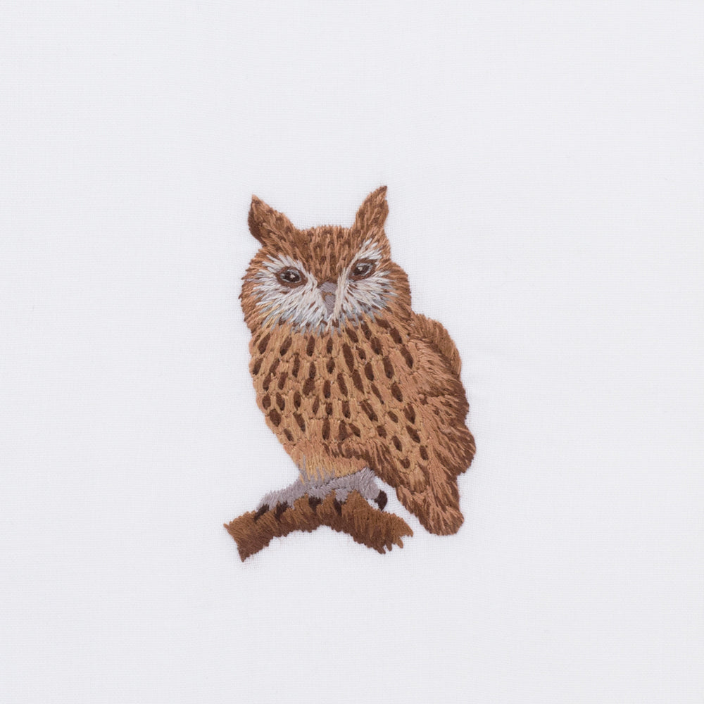 Owl<br>Hand Towel - White Cotton